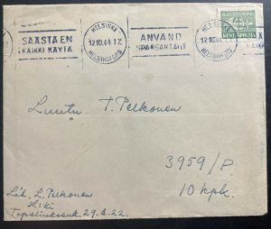 1944 Helsinki Finland Kenttapost Cover To Army Soldier