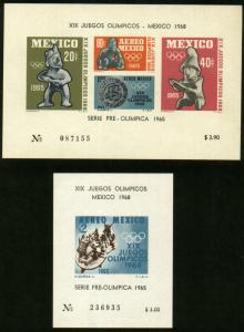 MEXICO C310a-C311a,1st Pre-Olympic Issue-1965 Souvenir  MINT, NG AS ISSUED. VF