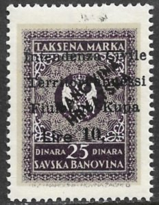 YUGOSLAVIA FIUME KUPA Italian Occupation 1941 10L Revenue Bft.65 MNH