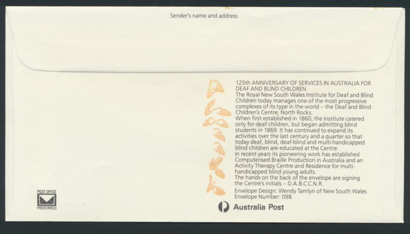 Australia PrePaid Envelope1985 - 25th Anniv Deaf and Blind Services for children