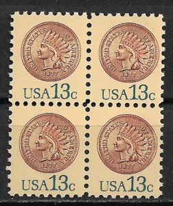 1978 USA 1734 Indian Head Penny MNH block of 4