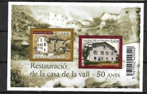 ANDORRA STAMPS. SOUV. SHEET LA VALL HOUSE RESTAURANT 2012, MNH