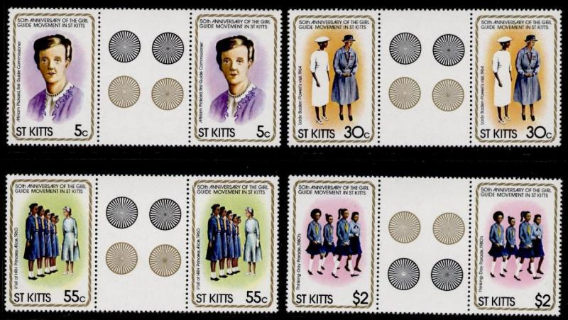 St Kitts 82-5 Gutter Pairs MNH Girl Guides, Miriam Pickard, Lady Baden-Powel