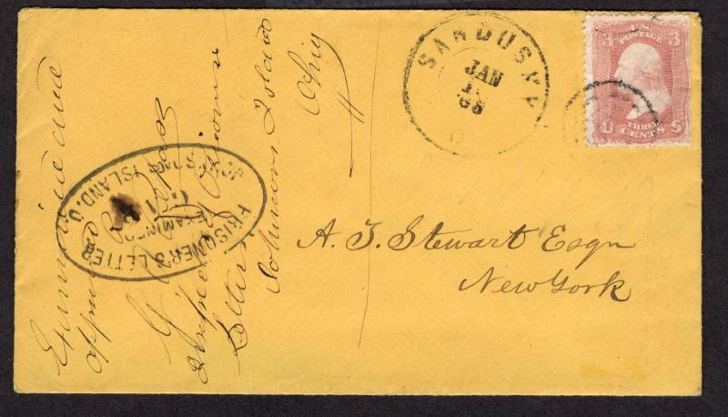 $CSA, Civil War POW cover, Sandusky OH. 1865, Johnson's Island to NY