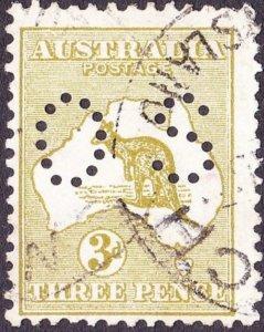 AUSTRALIA 1914 3d Olive Die II SGO20e FU