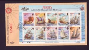 Jersey Sc 950b 2000 ships stamp souvenir sheet FDC