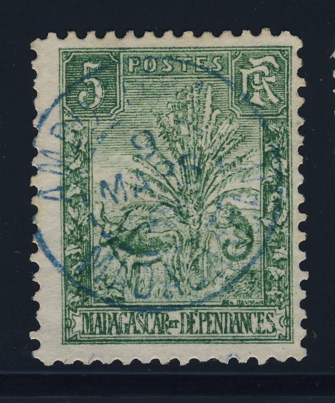 MADAGASCAR - ca. 1905 - CACHET À DATE D'AMBOSITRA EN BLEU SUR Yv.N°66