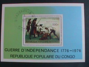 CONGO-1976- THE BATTLE OF LEXINGTON -2OOTH ANNIVERSARY- INDEPENDENCE CTO S/S