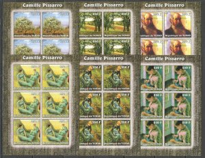 KV322 IMPERFORATE 2002 CHAD NEW ART PAINTINGS CAMILLE PISSARRO !!! 6SET MNH