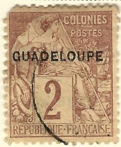 Guadeloupe SC #15 French Colony F-VF Used  hr.....Make me an Offer!