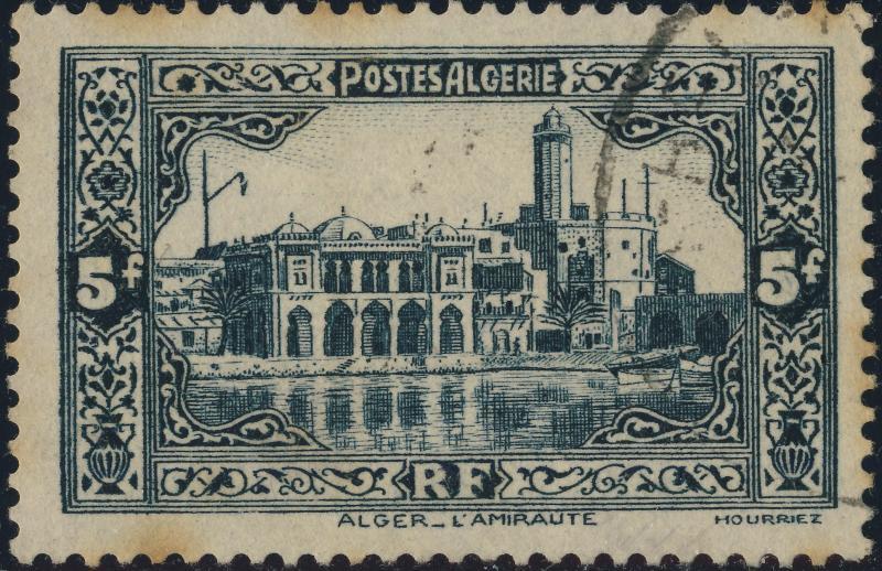 ALGÉRIE / ALGERIA - 1936 5fr grey-black Yv.124/Mi.127 - Very Fine Used