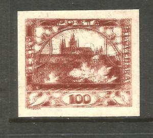 CZECHOSLOVAKIA  1918-19  100h  BROWN IMPERF MLH DOUBLE IMPRESSION  Sc 8