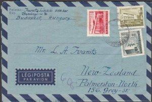 HUNGARY 1958 formular aerogramme commercially used to New Zealand...........J792