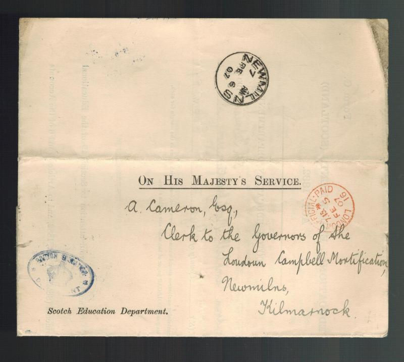 1907 Scotland Stampless Letter Cover Board of Education