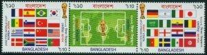 2002 Bangladesh 797-799strip 2002 FIFA World Cup in Japan and Korea