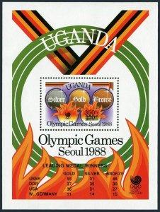 Uganda 1891 qd sheet,MNH. Olympics Beijing-2008.Javelin,Running,Boxing,Swimming.
