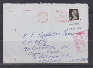 GREAT BRITAIN, 1990,Machin 1st., locally to Chevron Oil, courier to Nigeria.