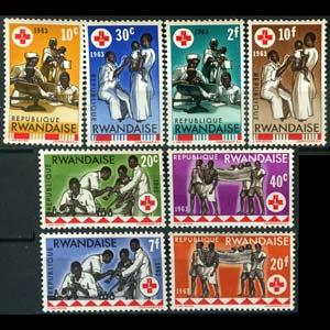 RWANDA 1963 - Scott# 44-51 Red Cross Set of 8 NH