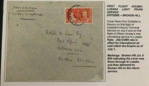 1937 Entebbe Uganda First Flight Cover FFC To Broken Hills Northern Rhodesia
