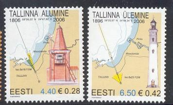 Estonia Sc 541-2 2006 lighthouse stamps NH