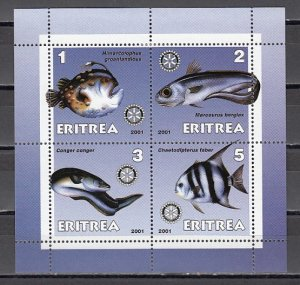 Eritrea, 2001 Cinderella issue. Various Fish on a sheet of 4. ^