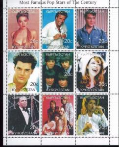 MOST FAMOUS POP STARS OF THE CENTURY Mini Sheet of 9 MNH Kyrgyzstan - E6