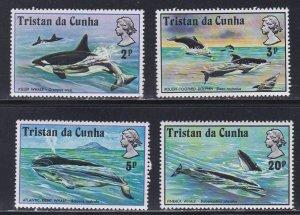 Tristan Da Cunha # 202-205, Whales & Dolphins, NH, 1/2 Cat.