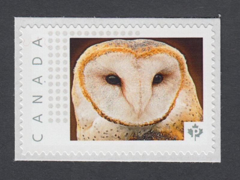 lq  BARN OWL custom postage stamp MNH Canada 2014 [p11sn9] / HipStamp