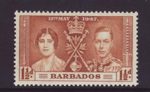 1937 Barbados 1½d Coronation Stamp Mint