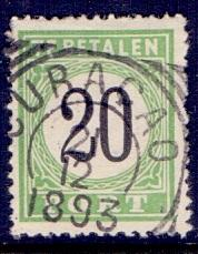 Curacao  1889  used   postage due  20 ct    #