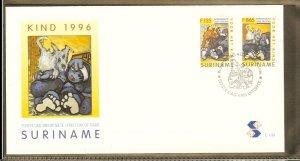 1996 - Rep. Surinam FDC E199 - Art - Paintings - Jan Telting - Child series [...