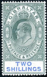 GIBRALTAR-1903 2/- Green & Blue.  A lightly mounted mint example Sg 52