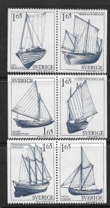 SWEDEN,1360-1365 HINGED ,PAIRS, SAIL BOAT