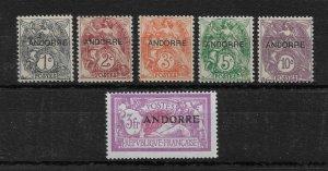 French Andorra 1931, First issue Scott # 1-5,VF MLH*OG & 3fr Scott # 19 VLH,