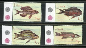 LIBERIA FISH SET, SOUVENIR SHEET & SHEET  MINT NH