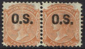 SOUTH AUSTRALIA 1868 QV OS 2D PAIR WMK CROWN/ WIDE SA PERF 10