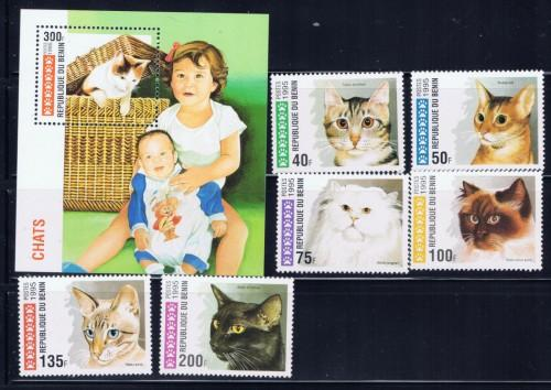 Benin 761-67 NH 1995 Domestic Cats set