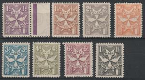 MALTA 1925 POSTAGE DUE RANGE TO 1/- WMK MULTI SCRIPT CA