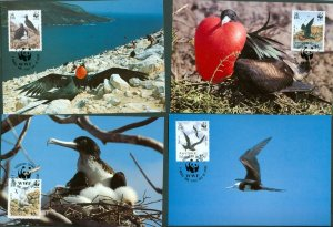 Ascension Island.1990 WWF. Set,4 Maximum Card 1990. Frigatebirds.Sc#483-84-85-86