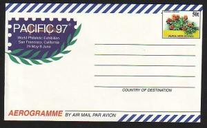 Papua New Guinea, 1997 issue. Pacific 97 Stamp Expo Areogramme. Flower shown. ^