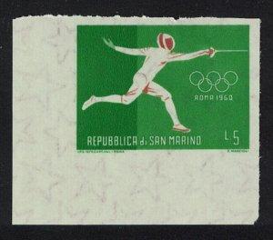 San Marino Fencing Olympic Games 1960 Imperf SG#MS616-1 MI#675 CV£3.25