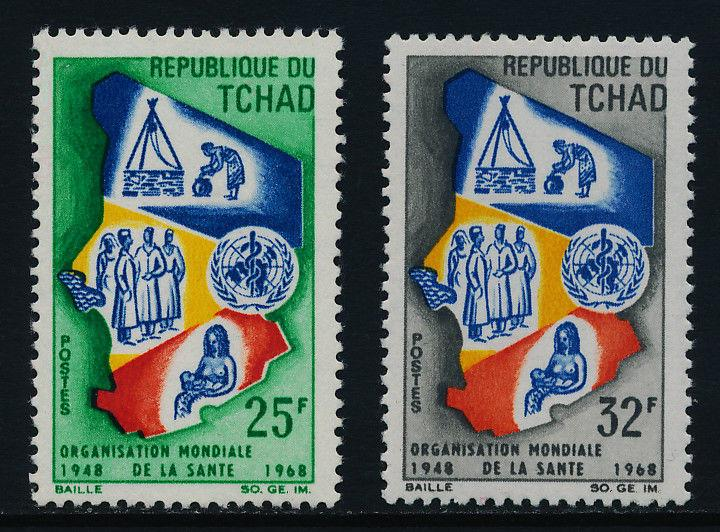Chad 152-3 MNH Map, WHO, Mother & Child