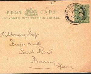 GB WALES KEVII Stationery Card *TV/R* PERFIN Taff Vale Railway 1905 PB192
