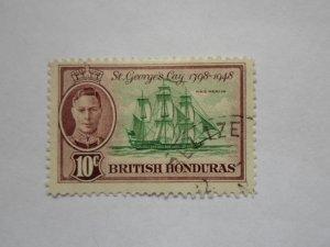 BRITISH HONDURAS STAMP  USED. HINGE MARKS. # 8