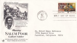 1975, Honoring Salem Poor, Art Craft, FDC (E12286)
