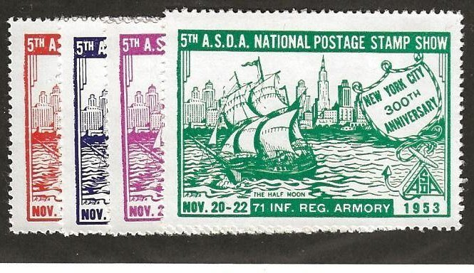 1953 5th A.S.D.A. National Postage Stamp Show 71 INF REG Armory N.Y. MNH Set/4