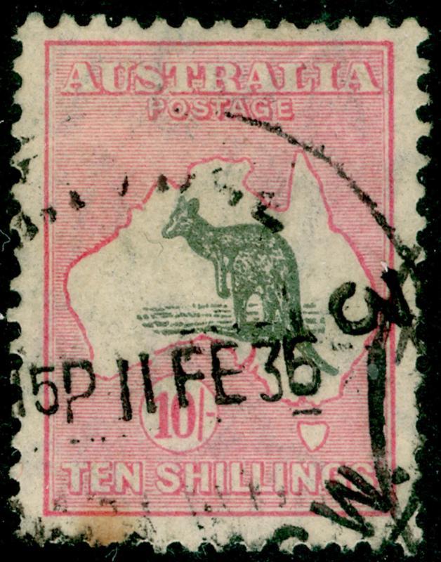 bf31db4b829 AUSTRALIA SG136, 10s grey & pink, USED. Cat £150. / HipStamp