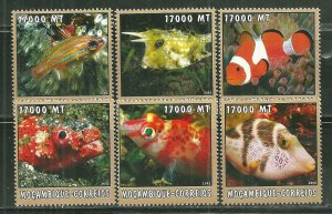Mozambique MNH 1654A-F Fish SCV 9.50