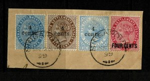 Straits Settlement four early stamps on piece - S7735