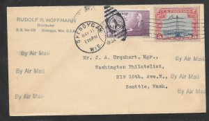 Just fun Covers #C11,737 Airmail Cover Sheboygan WIS MAY/11/1934 (my4311)